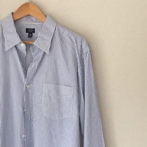J. Crew 120's 2Ply Blue Striped Dress Shirt